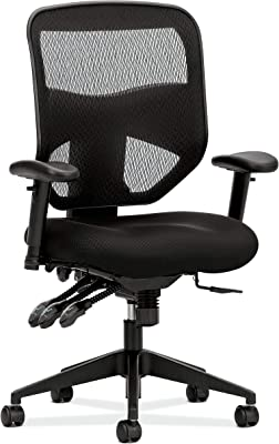 HON Prominent Mesh High-Back Task Chair, with Seat Glide and Height- and Width-Adjustable Arms, Asynchronous Control, Black