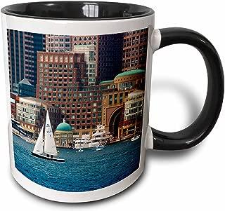 3dRose 189382_4 Use Massachusetts Boston Waterfront Skyline With Sailboats Two Tone Mug, 11oz, Black