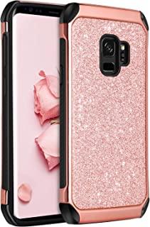 BENTOBEN Galaxy S9 Case, Samsung S9 Case 2 in 1 Glitter Bling Hard PC Cover Coat Sparkly Shiny Leather Hybrid Soft Bumper Shockproof Protective Phone Cases for Samsung Galaxy S9 (SM-G960U), Rose Gold