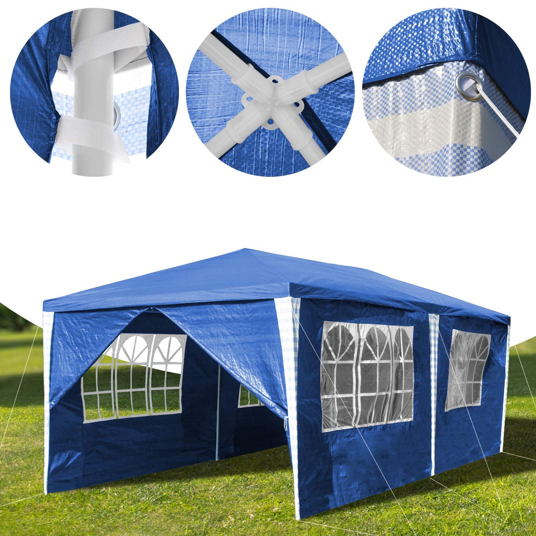 1 porte con cerniera copertura PE impermeabile LARS360 3 x 4 m Blu Tenda esterno Tenda da giardino Padiglione Tenda birra Tenda gazebo con 4 pareti laterali 3 finestre