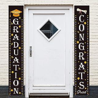 Graduation Black White Yard Sign Door Wall Banner Outdoor Hanging Congrats Grad Decorations Party Supplies