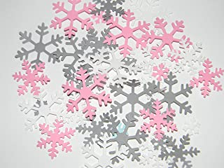 Snowflake Confetti -100 White Pink and Gray snowflakes - Winter Baby shower Birthday Party Table decor Decoration