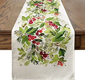 Artoid Mode Watercolor Holly Christmas Table Runner, Seasonal Winter Xmas Holiday Kitchen Dining Table Decoration for Indoor Outdoor Home Party Decor 13 x 72 Inch