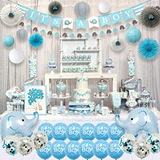 143 Pieces Blue Elephant Baby Shower Decorations for Boy Party Supplies Kit with Guest Book It's a boy Banner Garland Paper Fans Lanterns Cake Toppers Sash Gift Tags and Balloons by Ajworld