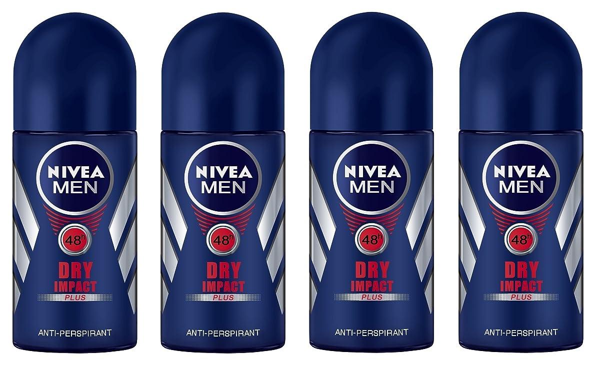 (Pack of 4) Nivea Dry Impact Plus Anti-perspirant Deodorant Roll On for Men 4x50ml - (4パック) ニベアドライ影響プラス制汗剤デオドラントロールオン男性用4x50ml
