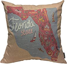 Mugod Florida Map Throw Pillow Cover Travel and Attractions Map of The State of USA..