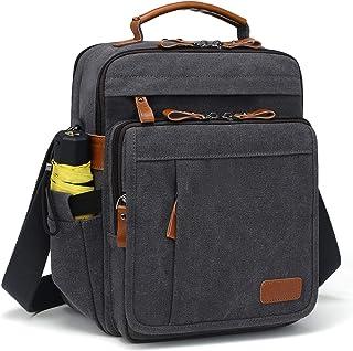 Estarer Umhängetasche Herren Schultertasche 13 Zoll kleine Herrentasche Kuriertasche aus Canvas für Arbeit Schule Reise