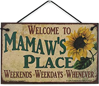 Egbert's Treasures 5x8 Vintage Style Sign with Sunflower Saying, Welcome to Mamaw's Place Weekends, Weekdays, Whenever Decorative Fun Universal Household Signs from