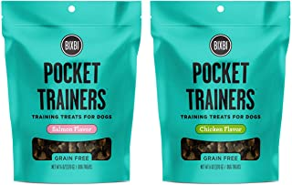 BIXBI Pocket Trainers Grain Free Dog Training Treats in 2 Flavors: (1) Chicken and (1) Salmon (2 Bags Total, 6 Ounces Each)