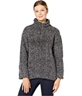 Faux-Shearling Pile Drop Shoulder 1/4 Zip Pullover with Soft Knit Lining