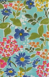 Watercolor Summer Flowers on The Water Vinyl Flannel Back Tablecloth (52