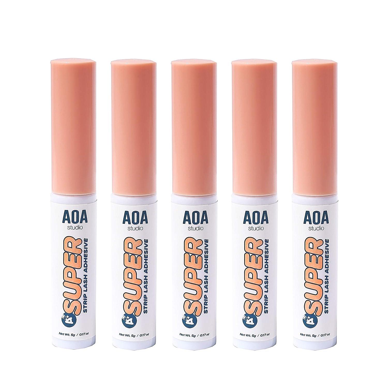 AOA Studio Eyelash Lash Glue Enhancers 5pcs Strip Lash Adhesive Strong Hold Water Proof Formula No Irritation Latex Free Long Lasing Quick Dry Eyelash adhesive 0.17oz Each Total 0.85oz For 5pcs