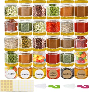 Superlele 30pcs 1.5oz Hexagon Mini Glass Jars with Gold Lids, Honey Jars Small Spice Jars Mason Jars For Herbs with 80pcs ...