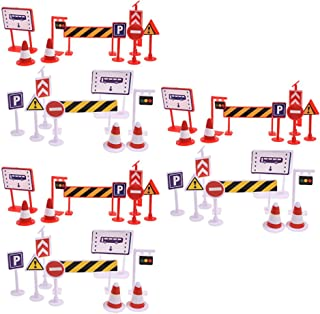 Bluecell 54 Pieces Street Signs Playset Traffic Signs Playset for Children Play