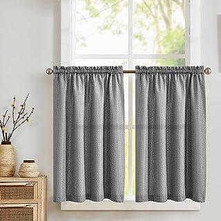 TOPICK Lot de 2 rideaux brise-bise avec motif gaufré - Demi transparent - Pour cuisine, salon, maison de campagne - Gris -...
