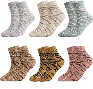 QKURT, 6 pares de calcetines suaves y cálidos para mujeres y niñas, calcetines con diseño de pantuflas, calcetines gruesos cálidos de invierno para el hogar