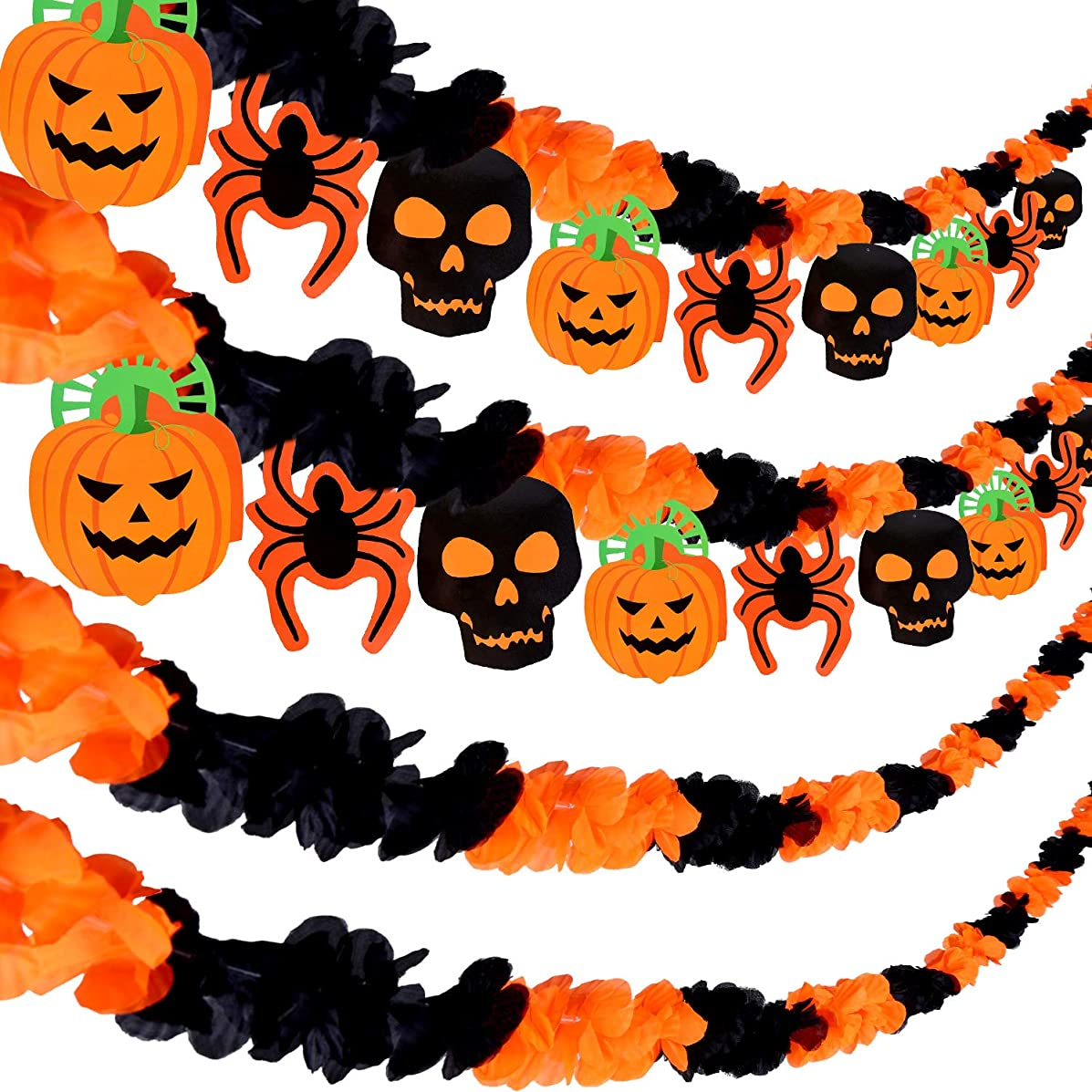 Tatuo 8 Pieces Halloween Banner Halloween Silk Garland with Pumpkin Skull Spider Hanging Banner Flags for Halloween Party Decoration
