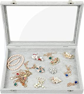 Stylifing Clear Lid Ice Velvet Multifunction Jewelry Tray Showcase Display Organizer Rings Earrings Necklaces Bracelet Watch Vintage Buttons Box for Women