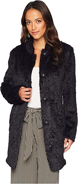 Stand Collar Faux Fur Woobie
