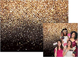 Black Gold Glitter Sequin Backdrop Curtain Bokeh Photo Booth Background for Prom Graduation Decorations Wedding Bridal Shower Decoration Bachelorette Party Decorations 7x5Ft 028