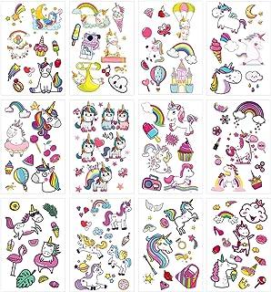 Eenhoorn Tijdelijke Tattoos, ZoomSky 24 Vellen Diverse Tijdelijke Stickers voor Kinderen Meisjes Jongens voor Verjaardagsf...