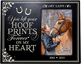 LifeSong Milestones Personalized Pet Memorial Gift, Sympathy Photo Frame, You Left Your Hoof Prints Forever On My Heart, Custom Frame Holds 4x6 Photo USA Made (Black)