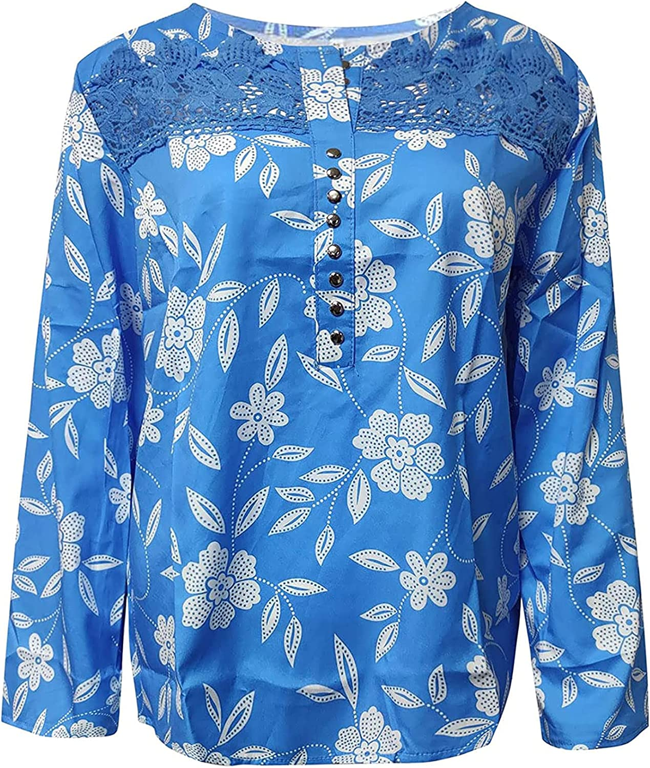Blouses for Women Floral Print Lace Splicing Long Sleeve V-Neck Fashion Casual Tops Loose Elegant Shirts