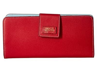 Frances Valentine Jefferson Longer Wallet (Red/Light Blue) Wallet Handbags