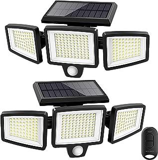 Solar Lights Outdoor,ATUPEN 210 LED 2500LM Motion Sensor Lights with Remote Control, 3 Heads Security LED Flood Lights, IP...