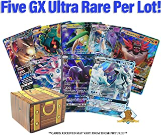5 Pokemon Card Lot - All GX Ultra RARES! No Duplication! 1 Pokemon Collectible Figure! Includes Golden Groundhog Treasure Chest Storage Box!