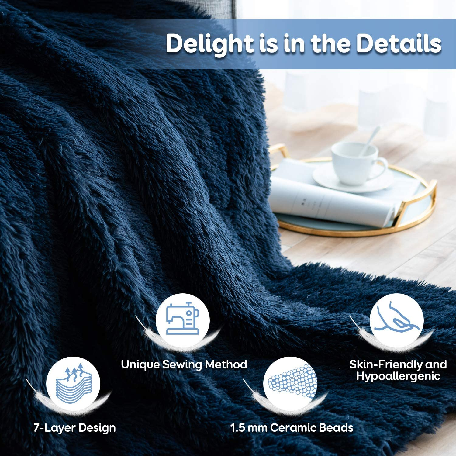 Cream 48x72 Snuggly Fuzzy Faux Fur Heavy Warm Elegant Cozy Plush Sherpa Microfiber Blanket Sivio Luxury Shaggy Longfur Weighted Blanket 15lbs for Couch Bed Chair Photo Props