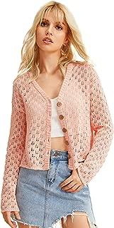 ROMWE Women's Button Knit Cardigan Open Front Sweater Coat - Pink - Medium
