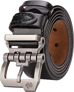 BISON DENIM Men's Leather Belt Genuine Leather Dress Belt Casual Fashion Single Prong Buckle Belts for Jeans