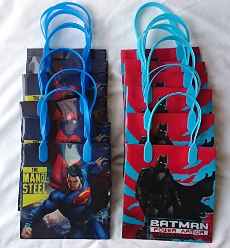 12 pcs Batman vs Superman Dawn Justice Authentic Licensed Reusable Small Party Favor Goodie Gift Bags by DC Comics