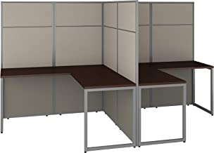 Bush Business Furniture Easy Office 2 Person L Shaped Cubicle Desk Workstation with 66H Panels, 60Wx60H, Mocha Cherry