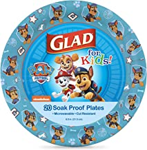 Glad for Kids Paw Patrol Paper Plates Featuring Chase, 20 Count, 8.5 Inches   Chase from Paw Patrol Plates for Kids   Heav...