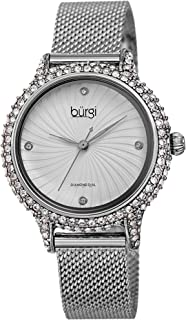 Burgi Swarovski Crystal Studded Case Watch - Embossed Whirlwind Patterned Dial with 4 Hand-Applied Genuine Diamond Markers...