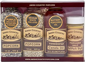 product image for Amish Country Popcorn | Variety Bundles - 14 oz each Purple & Medium White Kernels, Canola Oil & Ballpark Salt | Old Fashioned with Recipe Guide