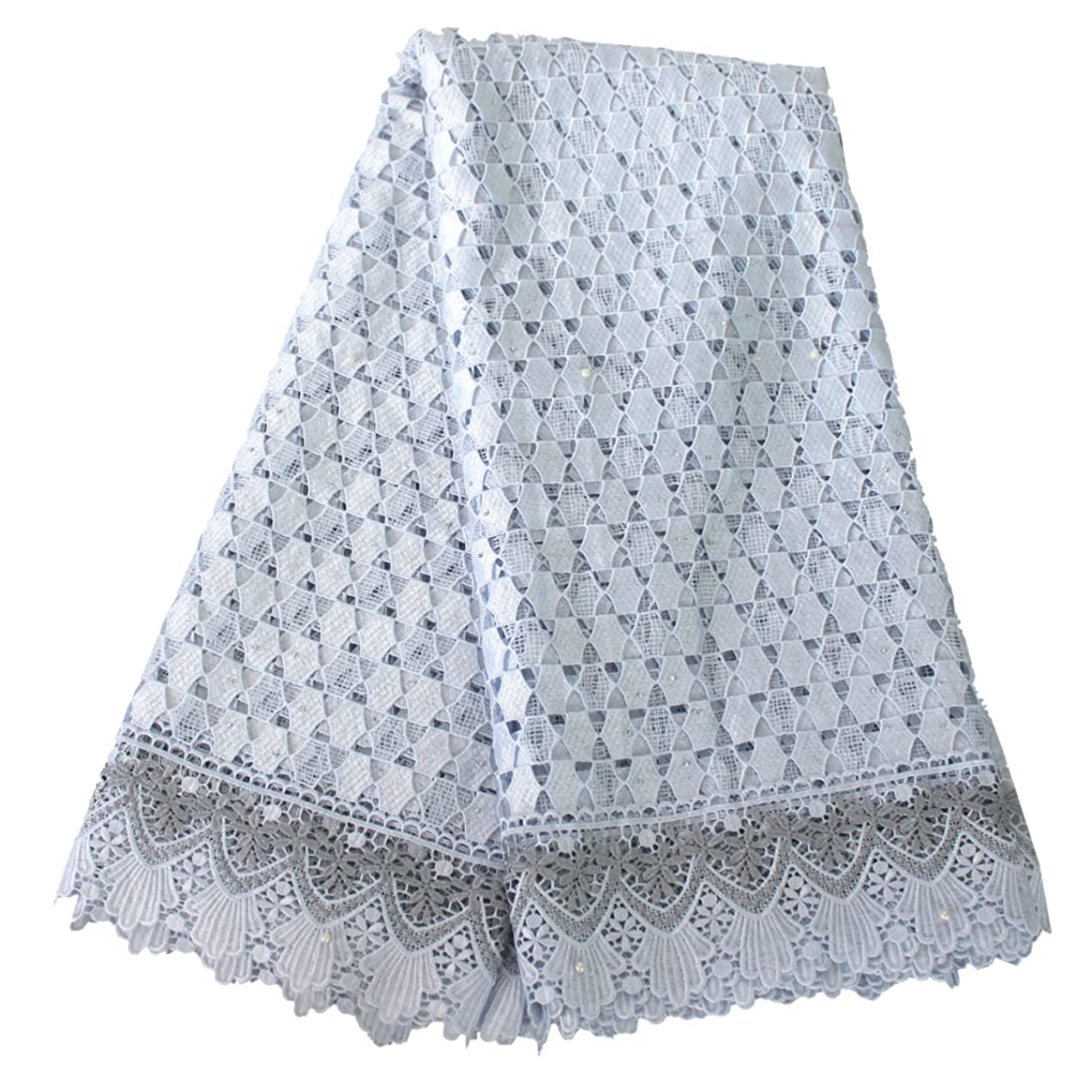 Aisunne 5 Yards African Lace Fabrics Classics Nigerian French Lace Fabric with Embroidered For Wedding Party Dresses (Silver)