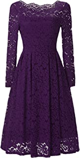 Women's Retro Boatneck Lace Floral Fit-Flare Pleated Knee Length Cocktail Dress