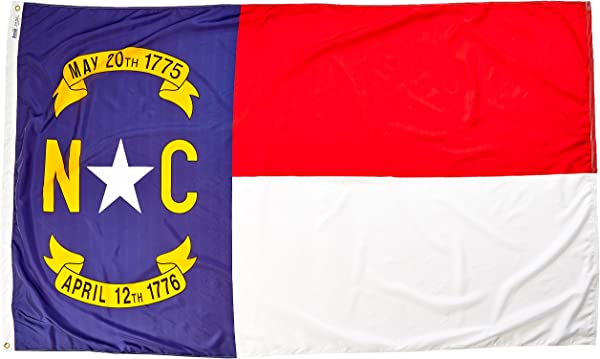 Annin Flagmakers Model 143980 North Carolina State Flag Nylon SolarGuard NYL Glo 5x8 Ft 100 Made In USA To Official Design Specifications