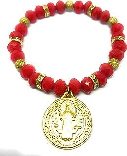 Chavarrieta Saint Benedict red Stretch Bracelet. Pulsera roja elastica de San Benito.