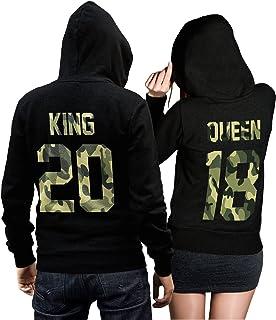 6445920e CVLR King Queen Pullover Pärchen Set Camouflage - Zwei Hoodies für Paare -  Geschenk-Idee