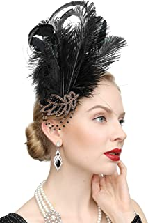 1920s Peacock Headpiece Feather Costume Hair Clip Flapper Headpiece Hat Accessory