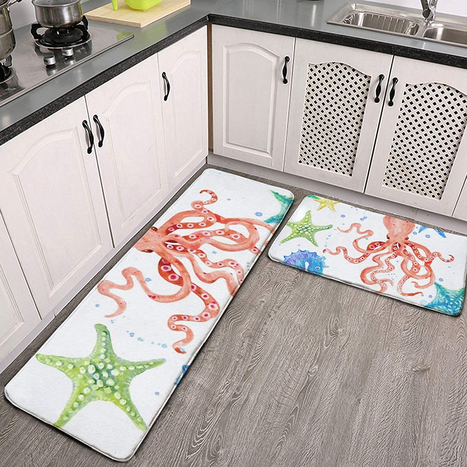 2 Mail order cheap Pieces Detroit Mall Kitchen Rugs and Mats Set Sea Red Beach Shore S Octopus