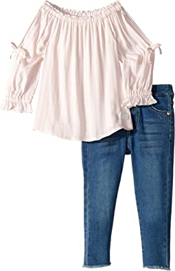Two-Piece Set Challis Stripe Off Shoulder Top and Medium Wash Denim Jeans (Toddler)