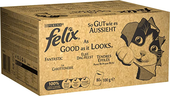 purina felix le ghiottonerie umido gatto con manzo, pollo, merluzzo e tonno, 80 buste da 100 g ciascuna 12380652