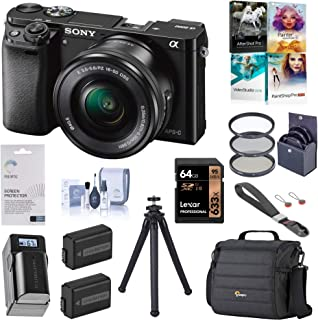 Sony Alpha a6000 Mirrorless Digital Camera 24.3MP (Black) with 16-50mm Lens (ILCE6000L/B), Pro Bundle with Bag, 2 Battery, Charger, Filter Kit, UFO 2 Tripod, 64GB SD Card, Wrist Strap and Accessories