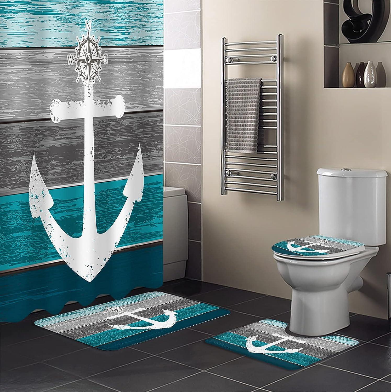 Womenfocus 4 low-pricing Cheap SALE Start Pcs Shower Curtain for Bathroom Bath Sets Non-Slip