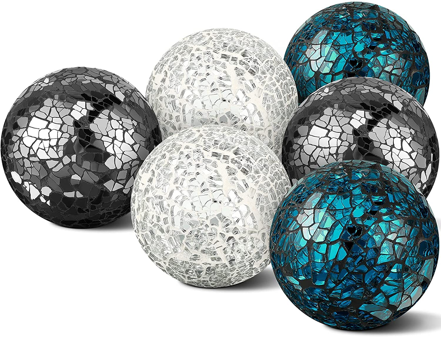6 Pieces Mosaic Glass Orbs Mosaic Sphere Glass Globe Decorative Orbs Centerpiece Balls Decorative Glass Balls for Bowls Vases Dining Table Centerpiece Decor, Sliver, Turquoise, Black